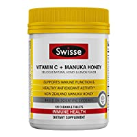 Swisse Ultiboost 维生素C和麦卢卡蜂蜜 | 富含抗氧化剂 | 120 片咀嚼片