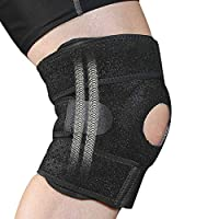 Fyore 护膝,男女款护膝,膝部支撑,适用于*、半月板撕裂、受伤恢复和缓解膝盖*,带侧稳定器,开放式髌骨,可调节肩带(黑色)