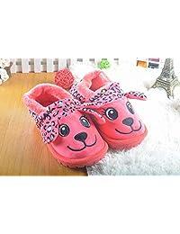 雨中节奏 冬季儿童中大童保暖家居家毛绒卡通狗狗包跟棉拖鞋加厚防滑底棉靴 红色 枚红色 绿色 灰色 22.5CM 23.5CM