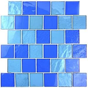 蓝色景观天景玻璃马赛克瓷砖 5.08 厘米 x 5.08 厘米厨房浴室后挡板(1 盒,12 张)