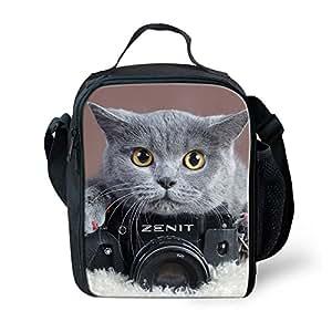 Showudesigns 动物保温午餐袋,儿童女孩午餐盒,带手柄 cat 4 小号