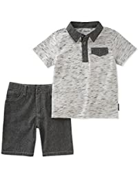 Calvin Klein 男孩2件 POLO 衫短裤套装