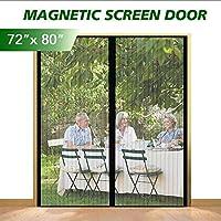 "eMaxtree *玻璃纤维磁性屏风门网眼窗帘,室内室外蚊帐纱门免提按扣屏帘适用于门廊、露台、阳台 Fits Doors Up To 70"" x 79"" Max"
