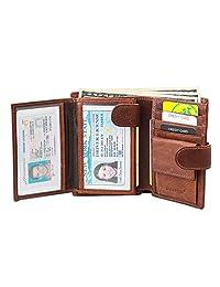 男式真皮三折钱包 RFID 屏蔽零钱袋 3 ID Windows 2 搭扣扣合*信用卡包
