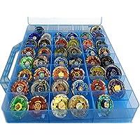 HOME4 双面收纳盒 – 玩具收纳盒 – 48 个隔层 – 适合小玩偶和玩具 – 不含娃娃 蓝色 CASE48