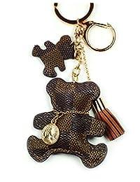 PU 皮革 狗/熊/猫/长颈链 格子帆布 Patten 织物流苏手提包 钥匙坠饰 吊坠链