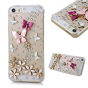"Mavis's Diary 3D 手工水晶蝴蝶 Lingers Over The Flower 莱茵石钻石闪亮透明硬壳盖带软清洁布4326785761 iPhone 5 / 5s ""Multi"""