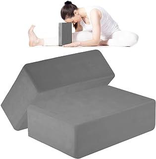 ANJUU 瑜伽砖 2 件装 高* EVA 泡沫块,防滑表面软木瑜伽砖 9 英寸 x 6 英寸 x 3 英寸(约 22.9 厘米 x 15.2 厘米 x 7.6 厘米)环保 EVA 泡沫锻炼块套装,改善瑜伽/普拉提/冥想的拉伸 - 灰色
