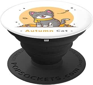 图案艺术设计可爱秋季猫 PopSockets 手机和平板电脑抓握支架260027  黑色