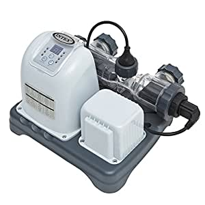 Intex 120V Krystal Clear Saltwater System with E.C.O. (Electrocatalytic Oxidation) for Above Ground Pools 灰色 15000-Gallon Pool