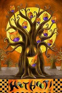 Toland Home Garden Hoot Hoot 28 x 40 Inch Decorative Fall Autumn Owl Bird Halloween Tree House Flag