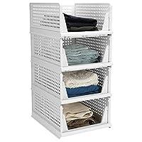 Hossejoy 4 件套可堆叠塑料储物篮,可折叠衣柜收纳盒储物盒 - 抽屉般抽出 - 非常适合卧室和厨房(白色)
