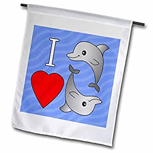 "janna salak 设计 Under the Sea–I LOVE 海豚–旗帜 18"" x 27"""