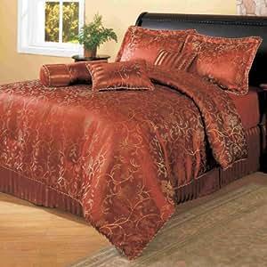 CentralPark Cassaria 8 件套豪华棉被套装,砖色 砖红色 Queen 86802