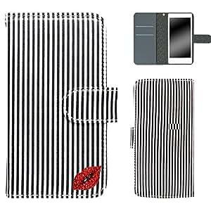 whitenuts 保护套翻盖式 ストライプリップデコ ブラック×ホワイト 17_ Nexus6P H1512