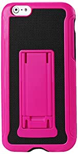 Reiko Silicon Case with Built In Horizontal/Vertical Media Kickstand for iPhone 6 Plus - Retail Packaging - Black/Hot Pink