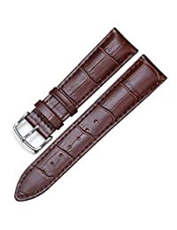 PESNO沛斯诺 皮表链 柔软头层小牛皮真皮表带 黑色棕色深棕色14mm16mm18mm19mm20mm22mm (棕色 20mm)