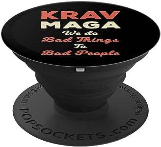 Krav Maga 自卫 MMA 格斗运动可爱礼物 PopSockets 手机和平板电脑握架260027  黑色
