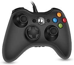 RegeMoudal Xbox 360 PC 游戏有线控制器 适用于微软 Xbox 360 和 Windows PC (Windows 10/8.1/8/7) 双振动和人体工程学有线游戏控制器(黑色 1)