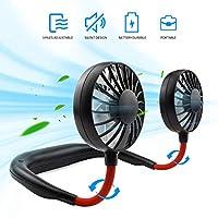 免提个人风扇,迷你便携式 USB 可充电风扇,3 档速度可调,360 度自由旋转,非常适合旅行,运动和办公室,耳机设计,颈带可佩戴 黑色
