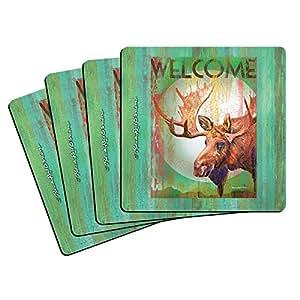 """Boelter Brands """"Moose"""" Neoprene Coasters, 4-Pack"""