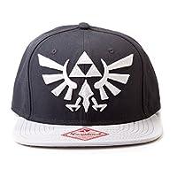 Zelda 任天堂 后扣帽 带金色Triforce 标志(绿色) 灰色铁三角标志 One size 黑色