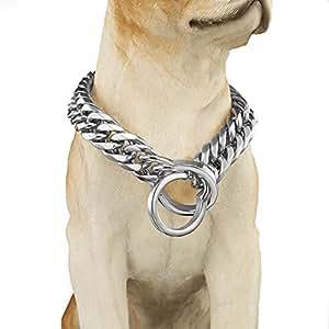 Abaxaca 奢华个性化狗项圈重型无钢圈 18 毫米金大号狗豪华项圈项链链,非常适合体重 18 至 28 厘米 白色 28 inch