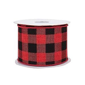 颜色尺寸丝带变化 红色/黑色水牛格子 2.5 Inch x 10 Yards 2510BUFPLD