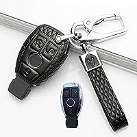 汽车真皮钥匙包2017款奔驰R320 350 300 400钥匙扣壳保护套改装 奔驰D款插入式三键 黑色