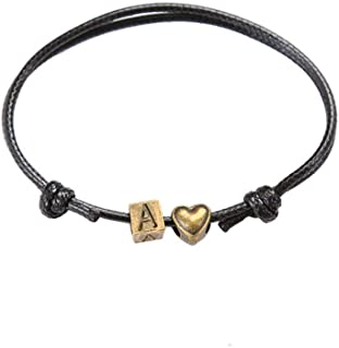 KunBead 珠宝 爱心 手链 首字母 A-Z 字母 名字 手工编织皮革 男士 绳子 手链 可调