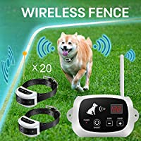 FOCUSER 电动无线狗围栏系统,宠物收容系统,适合 2 只狗和宠物,带防水可充电训练项圈接收器绑定(带 20 个旗帜)