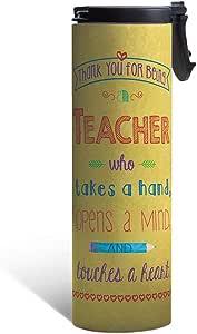 无树问候 BT48726 不锈钢真空保温旅行玻璃杯,教师感谢黄色设计,咖啡爱好者的可爱礼物,17 盎司,多色