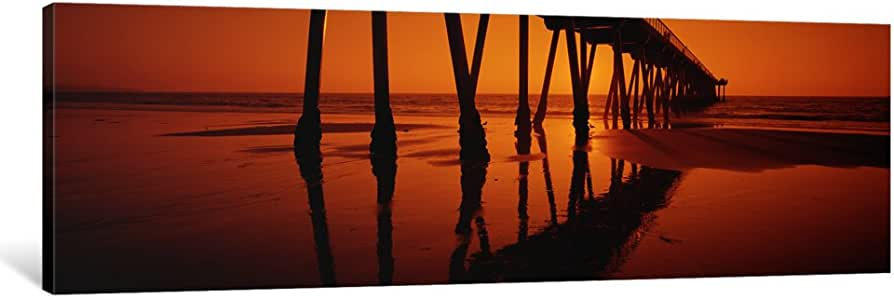 """iCanvasART 1 Piece Silhouette of a pier at sunset, Hermosa Beach Pier, Hermosa Beach, California, USA Canvas Print by Panoramic Images, 48 x 16""""/1.5"""" Deep"""