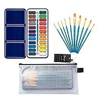 Bianyo 专业水彩套装 - 30 种颜色 - 2 包艺术画套装水彩纸,画笔 24 种颜色 BN2016-24