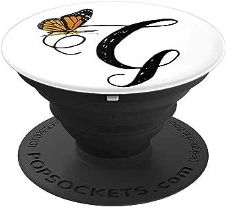 Elegant G 蝴蝶字母字母字母字母字母艺术 - PopSockets 手机和平板电脑握架260027  黑色