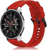 Fintie 三星 Galaxy 手表 46mm / Gear S3 Frontier/經典手表腕帶,22 毫米快速釋放軟硅膠替換運動表帶 紅色