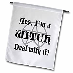 3dRose fl_157356_1 Yes, im a Witch Deal with it Garden Flag,30.48 x 45.72 cm