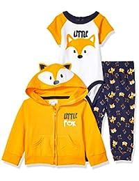 Quiltex 男童幼儿狐狸连脚裤、连帽衫和爬行服 3 件套