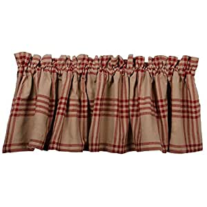 """Chesterfield Check Valance Red 黑色 Oat, Barn Red 72"""" x 15.5"""" VL590017"""