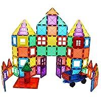Skymags 磁性积木拼贴 100 片套装 3D 透明颜色与强力磁铁可培养孩子的想象力、灵感和精细儿童运动技巧