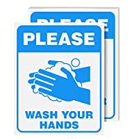 Please WashYour Hands签名层压海报 - *和* - 非常适合家庭、学校、官员以及公共空间使用 | 耐热、防水、防潮| 20.32 x 25.40 厘米 | 每包 5 个 蓝色 8  x 10  Inch