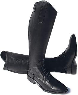Rhinegold Elite Luxus 棕色皮革系带马靴