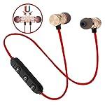 蓝牙耳机,无线耳塞运动耳机,蓝牙 4.1,HiFi 低音立体声防汗耳塞,带立体声和抗干扰,适合锻炼、跑步、健身房 红色