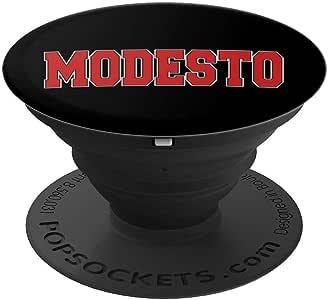 MODESTO CA CALIFORNIA 校队风格 美国复古运动 PopSockets 手机和平板电脑握架260027  黑色