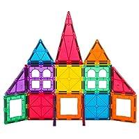 Playmags 32 + 6 件儿童套装:现在配有更强的磁铁,坚固耐用,并带有鲜艳的透明彩色瓷砖。 6 件点击配件,提升您的创造力