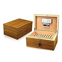 SIKARLAN西格朗整体雪松木全实木雪茄盒 配电子湿度表的雪茄保湿盒 斑马经典雪茄箱