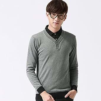 ziitop 致潮新款男式韩版修身毛衣 纯棉民族风套头 小v领男式毛衣8002 (XL, 深灰色)