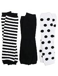 juDanzy 3 双装男婴和女婴护腿套,黑色,白色 中性
