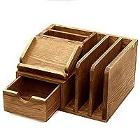 MyGift 乡村风格灰色木质桌面办公室收纳袋 带支架,邮件分类器和抽屉 棕色