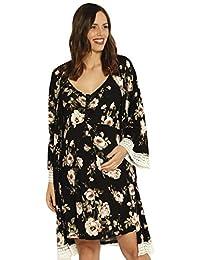 Angel Maternity 3 合 1 新生儿套装:*长袍 + 孕妇长袍,护理连衣裙和婴儿毯人工套装 - 花卉 - XL